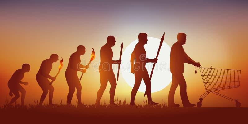 Évolution de l'humanité à un monde de la consommation excessive où les hommes vont faire des emplettes dans le supermarché illustration de vecteur