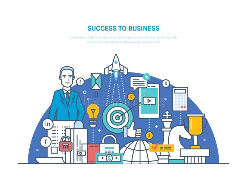 Éxito al negocio Éxito en el trabajo, crecimiento de la carrera, bienestar financiero stock de ilustración