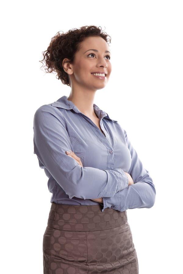 Éxito:  blusa azul que lleva sonriente satisfecha f de la mujer de negocios fotos de archivo libres de regalías