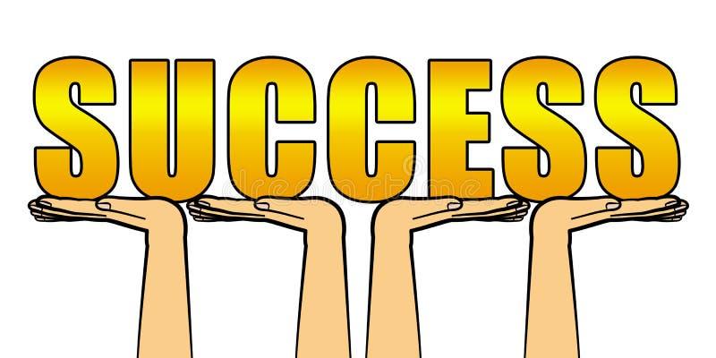 Éxito con las manos amigas stock de ilustración