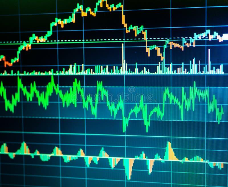 Éxito de asunto y concepto del crecimiento Carta del gráfico de negocio del mercado de acción en la pantalla digital stock de ilustración