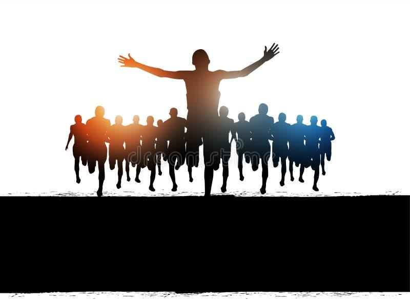 Éxito de la corrida del maratón stock de ilustración