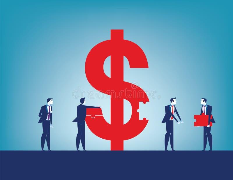 Éxito de la inversión de los colegas Equipo del negocio que recoge la muestra de dólar con los pedazos Ejemplo del vector del neg stock de ilustración