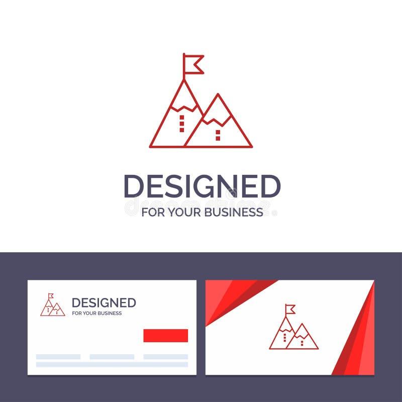 Éxito de visita de la plantilla creativa de la tarjeta y del logotipo, logro, bandera, meta, misión, montaña, pico, ejemplo del v libre illustration