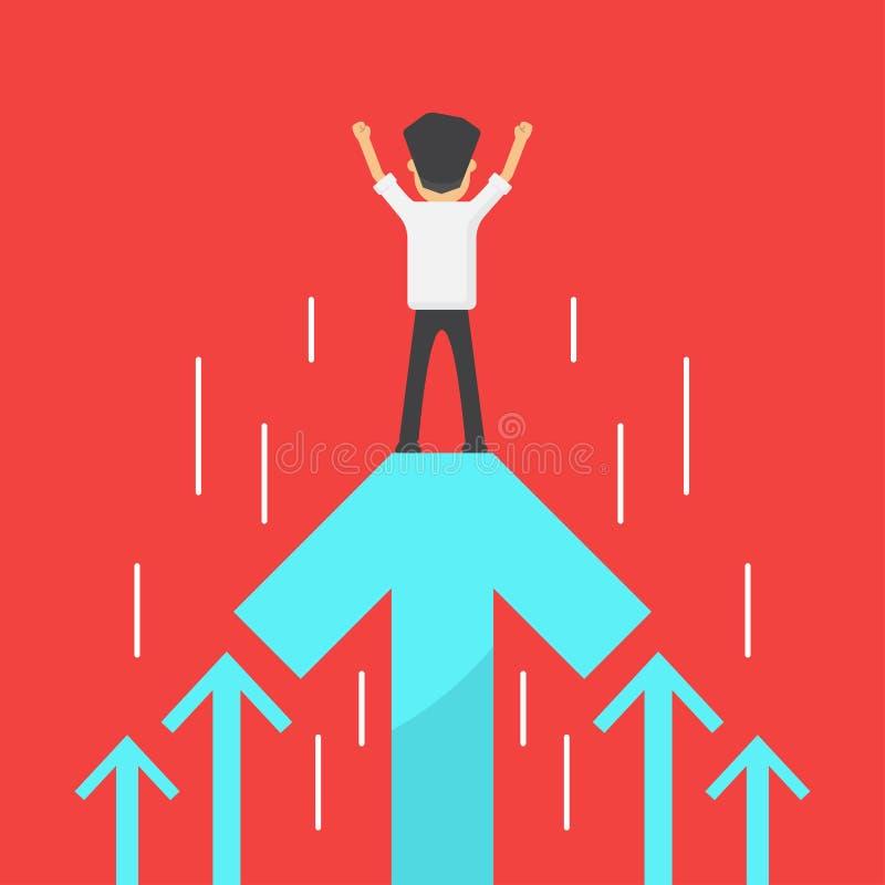 Éxito del aumento del beneficio de negocio, vector del concepto de la historieta del crecimiento de las ventas ilustración del vector