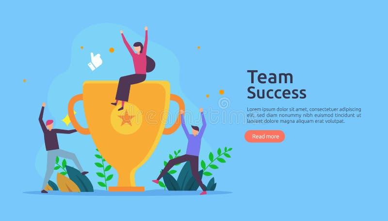 Éxito del equipo con la taza del trofeo concepto del trabajo en equipo que gana Junto logro con el carácter de la gente para la p ilustración del vector