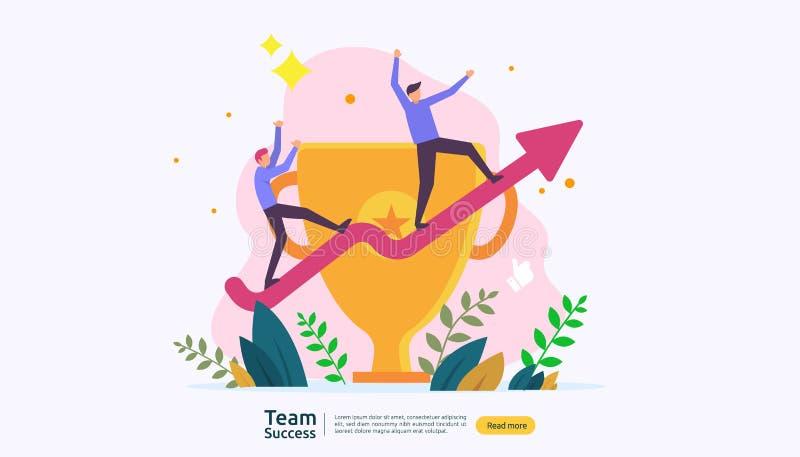 Éxito del equipo con la taza del trofeo concepto del trabajo en equipo que gana Junto logro con el carácter de la gente para la p stock de ilustración