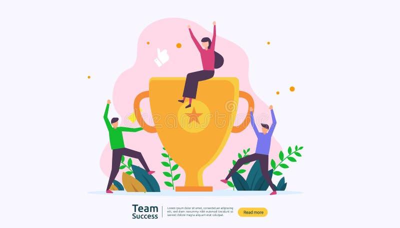 Éxito del equipo con la taza del trofeo concepto del trabajo en equipo que gana Junto logro con el carácter de la gente para la p libre illustration