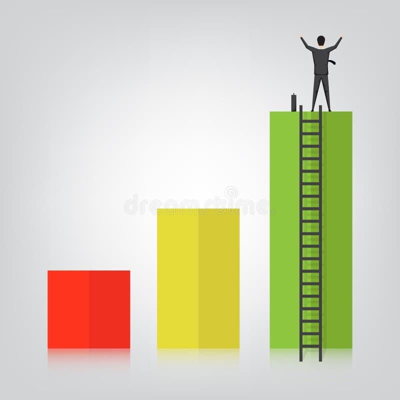 Éxito del hombre de negocios, aumento del gráfico de la comisión del negocio, vector stock de ilustración