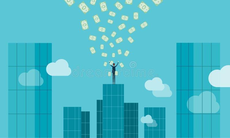 Éxito del hombre de negocios a la conexión del profitk del negocio y del bote stock de ilustración