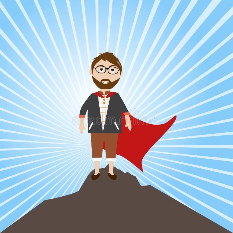 Éxito del hombre de negocios la sensación de la blanco él le gusta un héroe ilustración del vector