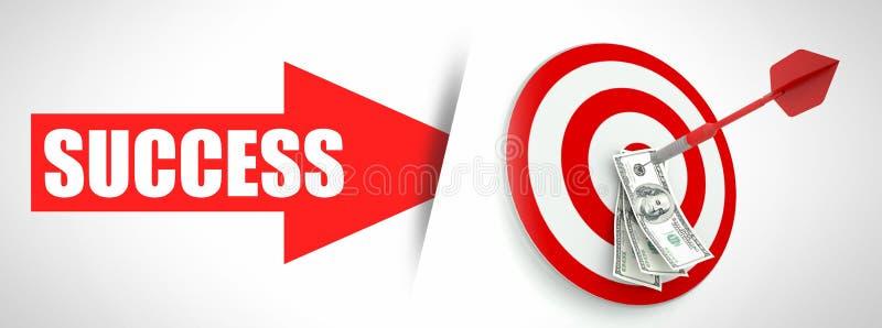 Éxito empresarial, flecha con el dinero stock de ilustración