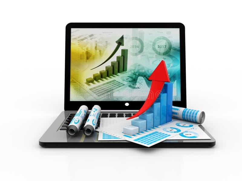 Éxito empresarial, ordenador portátil con el gráfico de negocio en el fondo blanco 3d rinden stock de ilustración