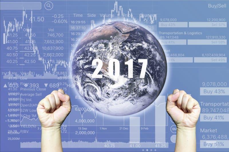 Éxito en comentario del negocio en 2017 con el gráfico del índice de existencias en B imágenes de archivo libres de regalías