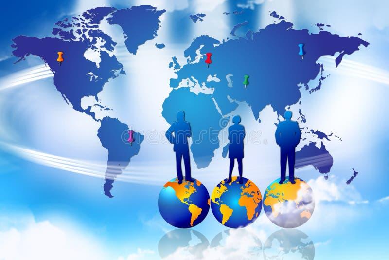 Éxito global del plan de comercialización ilustración del vector