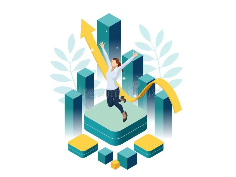 Éxito isométrico de la mujer de negocios, dirección, premios, carrera, proyectos acertados, meta, plan que gana, dirección ilustración del vector