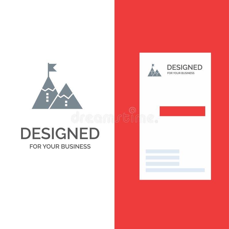 Éxito, logro, bandera, meta, misión, montaña, pico, Grey Logo Design y plantilla de la tarjeta de visita ilustración del vector