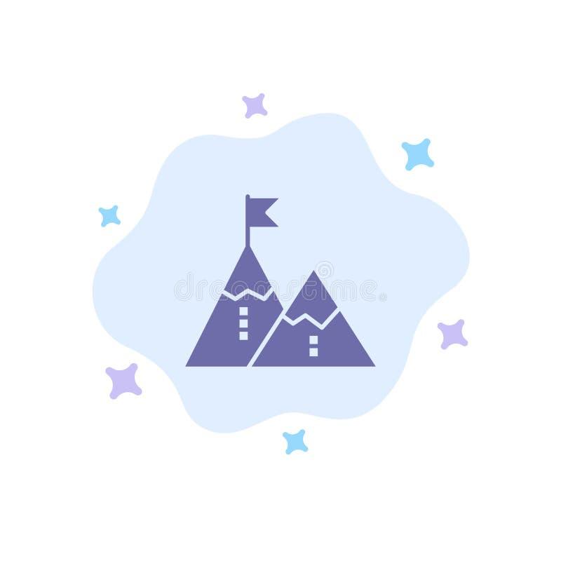Éxito, logro, bandera, meta, misión, montaña, pico, icono azul en fondo abstracto de la nube ilustración del vector
