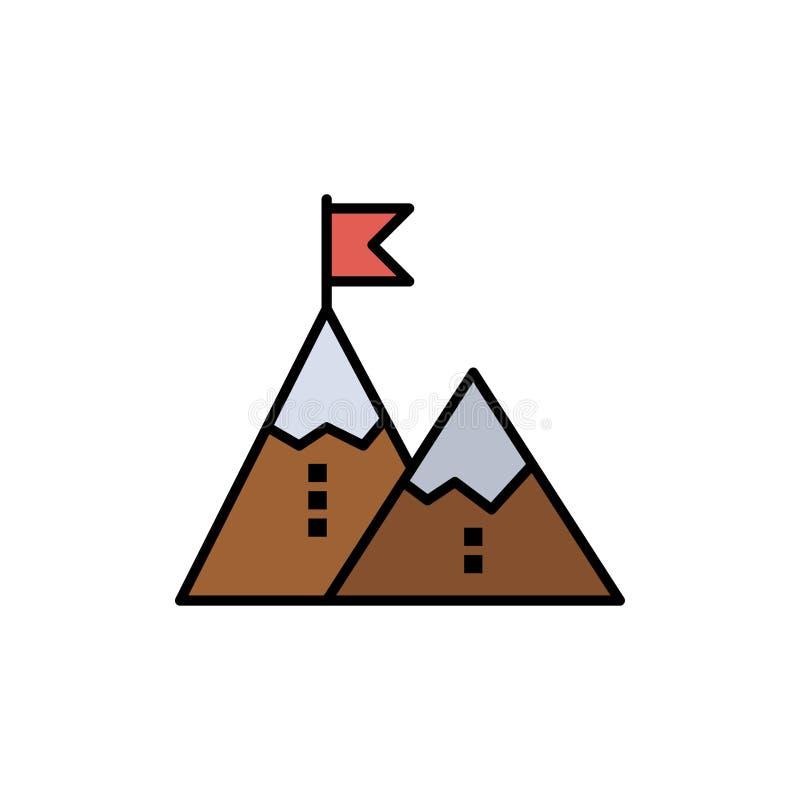 Éxito, logro, bandera, meta, misión, montaña, pico, icono plano del color Plantilla de la bandera del icono del vector ilustración del vector