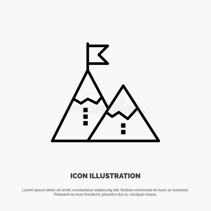 Éxito, logro, bandera, meta, misión, montaña, pico, línea vector del icono libre illustration
