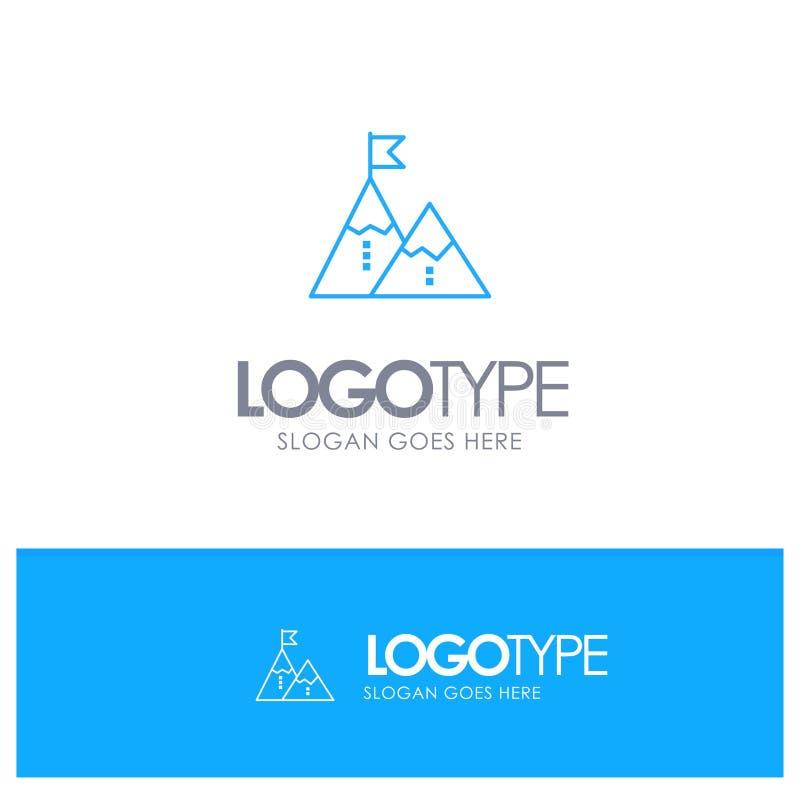 Éxito, logro, bandera, meta, misión, montaña, pico, logotipo azul del esquema con el lugar para el tagline stock de ilustración