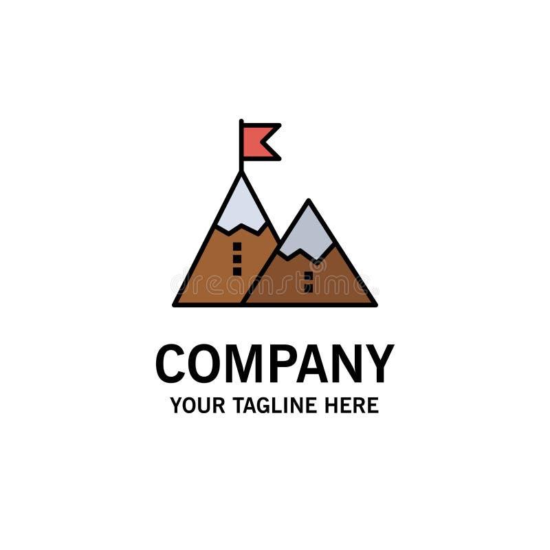 Éxito, logro, bandera, meta, misión, montaña, pico, negocio Logo Template color plano stock de ilustración