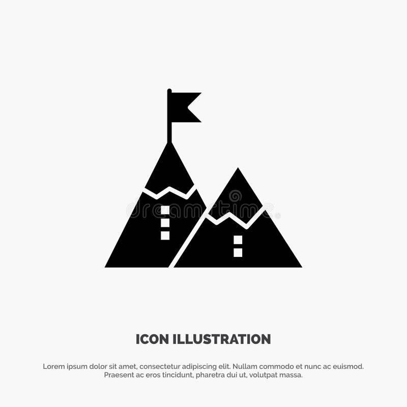 Éxito, logro, bandera, meta, misión, montaña, pico, vector sólido del icono del Glyph ilustración del vector