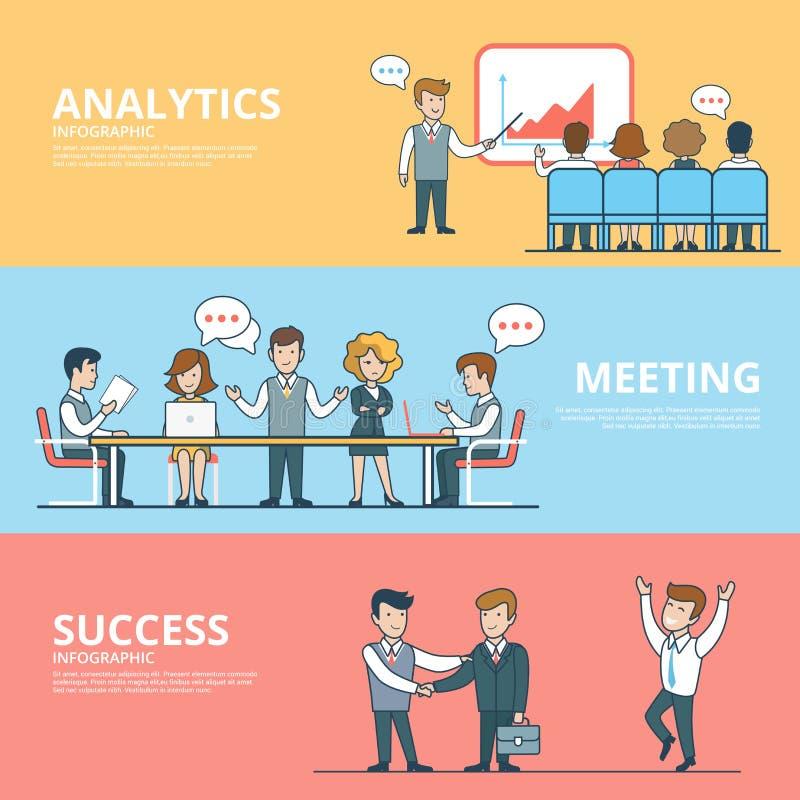 Éxito plano linear en la reunión del analytics del negocio ilustración del vector