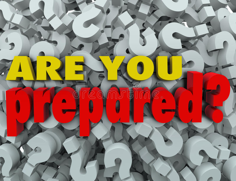 Êtes vous avez préparé l'évaluation prête d'évaluation de question illustration libre de droits