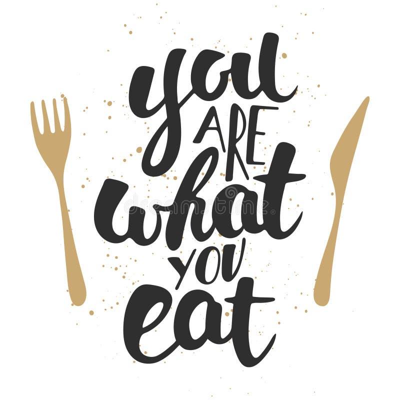 Êtes vous ce que vous mangez, calligraphie moderne de brosse d'encre avec l'éclaboussure illustration de vecteur
