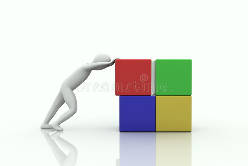 être humain 3d avec les cubes commandés illustration libre de droits
