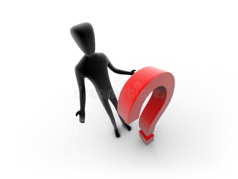 être humain 3d avec un point d'interrogation rouge illustration libre de droits