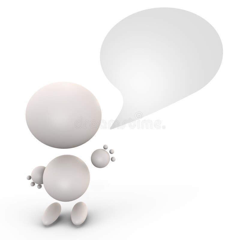 Être humain mignon avec une bulle parlante - image 3d illustration libre de droits