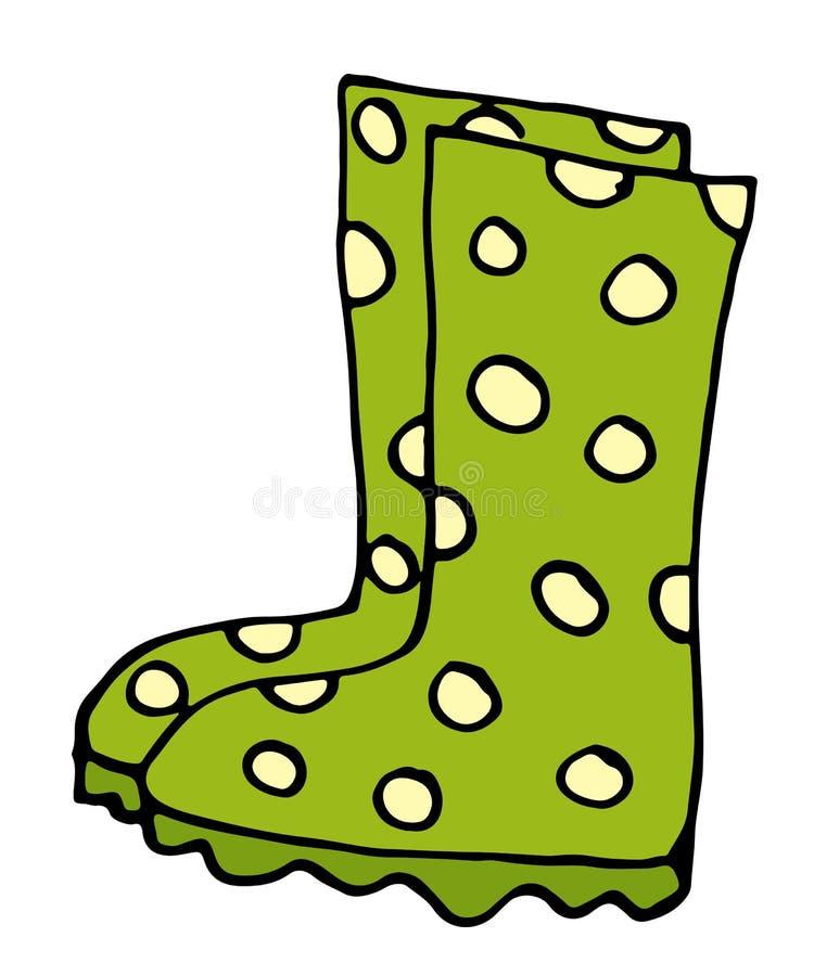 Ícone à moda das botas de borracha no estilo dos desenhos animados isolado na ilustração branca do fundo ilustração royalty free