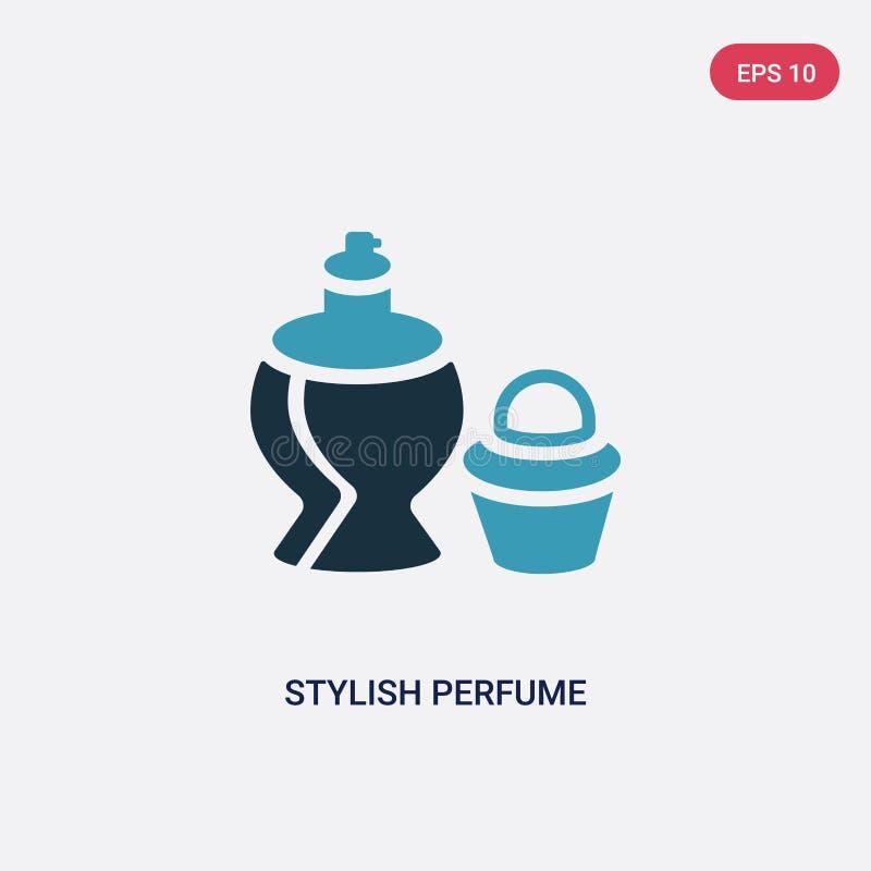 Ícone à moda de duas cores do vetor da garrafa de perfume do conceito das formas o símbolo à moda azul isolado do sinal do vetor  ilustração stock