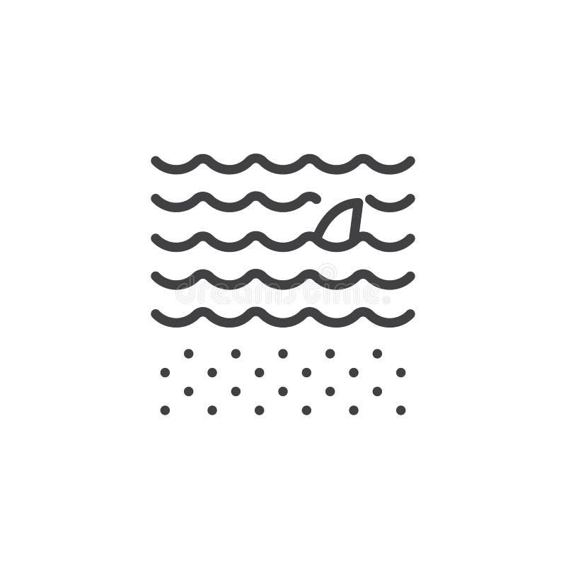Ícone à superfície da àgua do esboço da aleta do tubarão ilustração royalty free