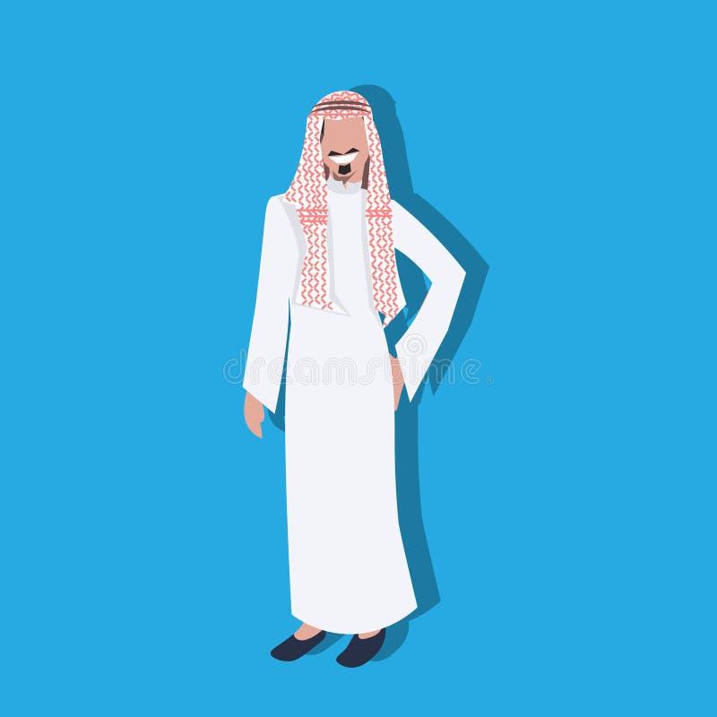 Ícone árabe do homem de negócio que guarda o bolso da mão que veste o avatar masculino do personagem de banda desenhada do homem  ilustração do vetor