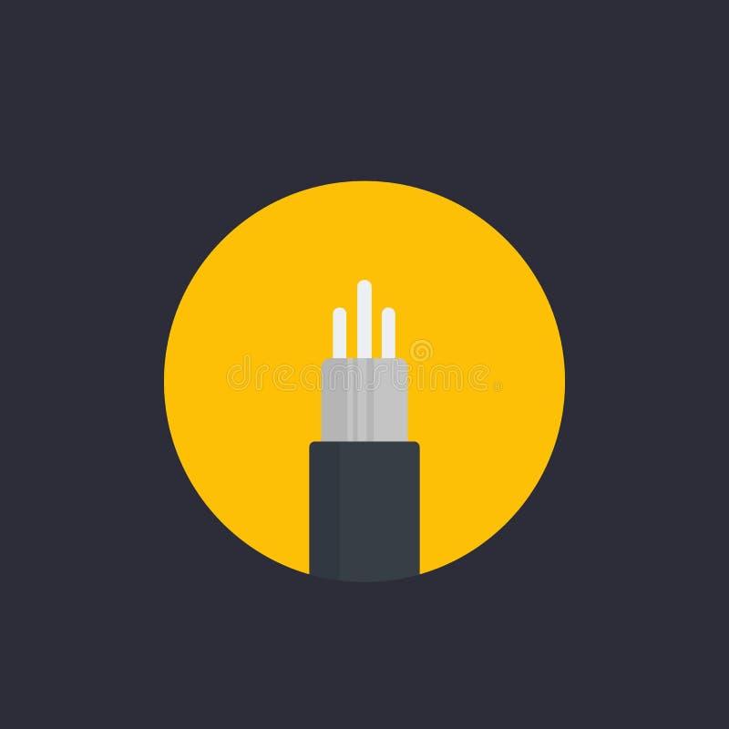 Ícone ótico do vetor do cabo da fibra no estilo liso ilustração do vetor