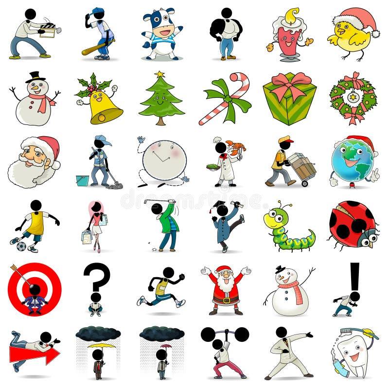 ícone 1 da ação de 36 desenhos animados ilustração stock
