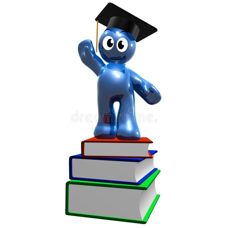 ícone 3d da graduação e dos livros ilustração do vetor