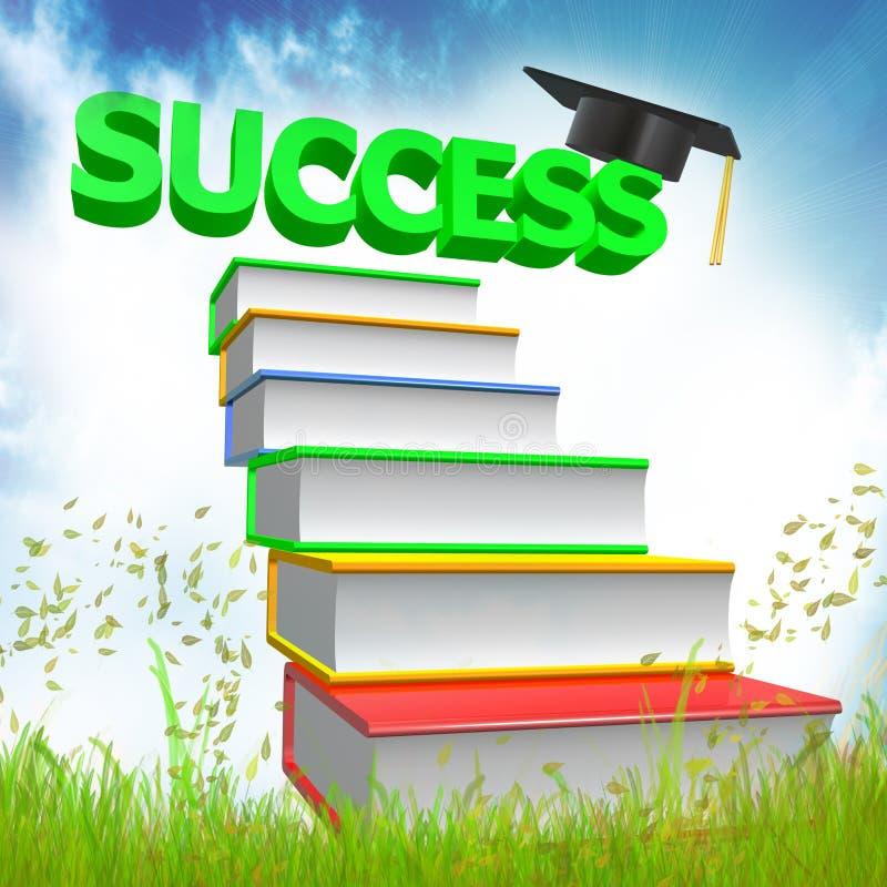 ícone 3d da graduação e dos livros ilustração stock