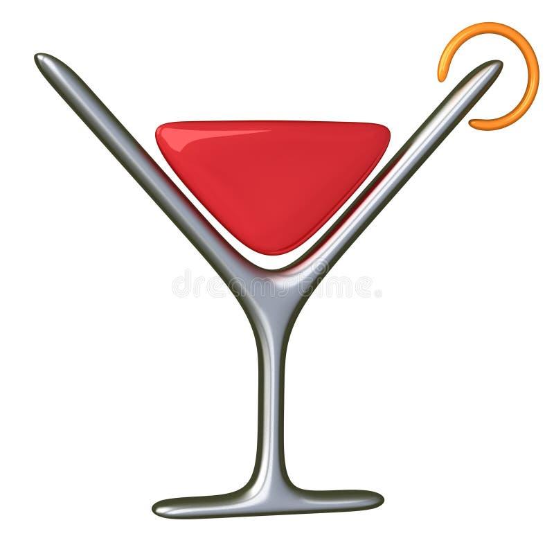 Ícone 3d do vidro de cocktail ilustração royalty free