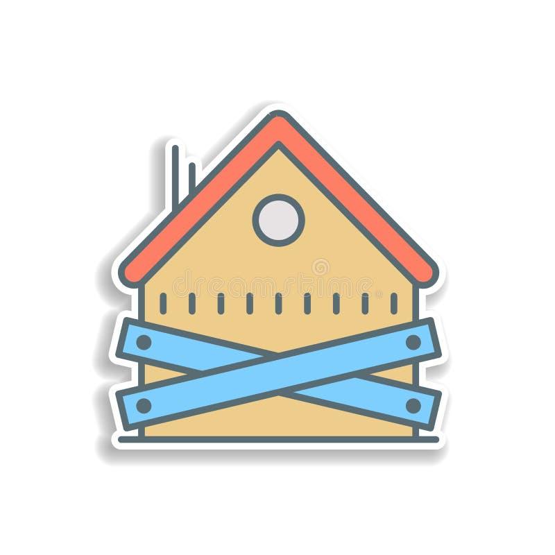 ícone abandonado da etiqueta da casa Elemento do ícone da operação bancária da cor Ícone superior do projeto da etiqueta da quali ilustração stock