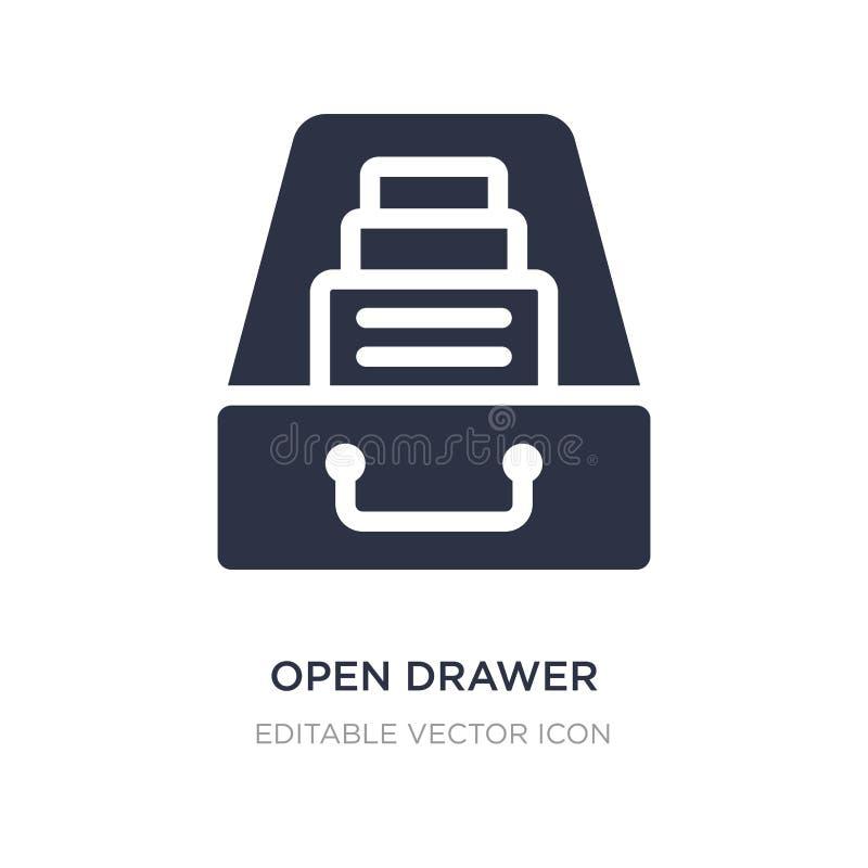ícone aberto da gaveta no fundo branco Ilustração simples do elemento do conceito geral ilustração royalty free