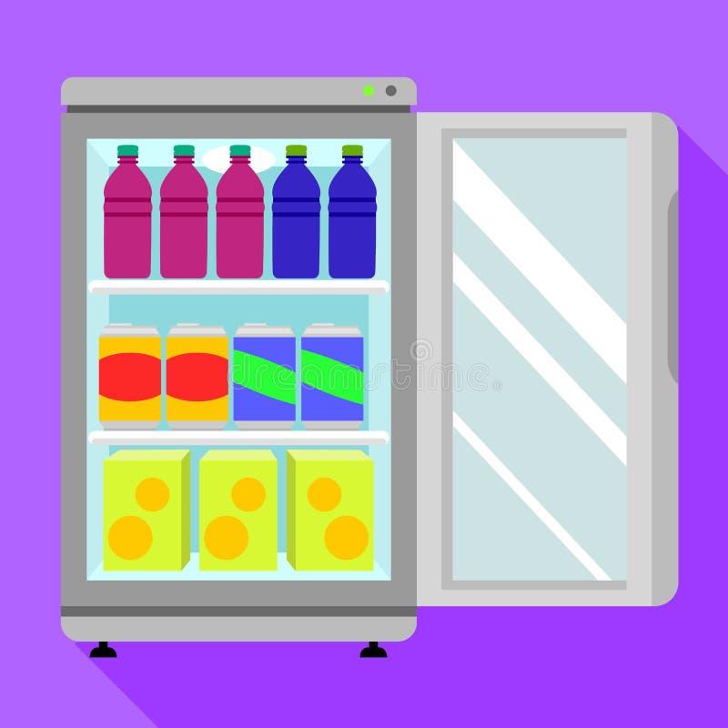 Ícone aberto do congelador da bebida, estilo liso ilustração stock