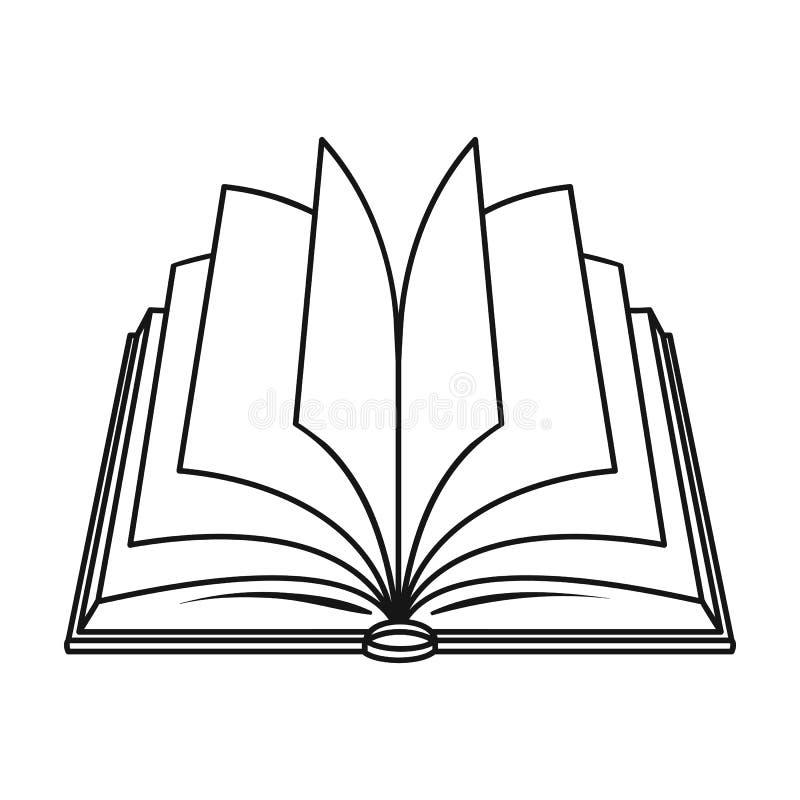 Ícone aberto do livro no estilo do esboço isolado no fundo branco Registra a ilustração conservada em estoque do vetor do símbolo ilustração do vetor