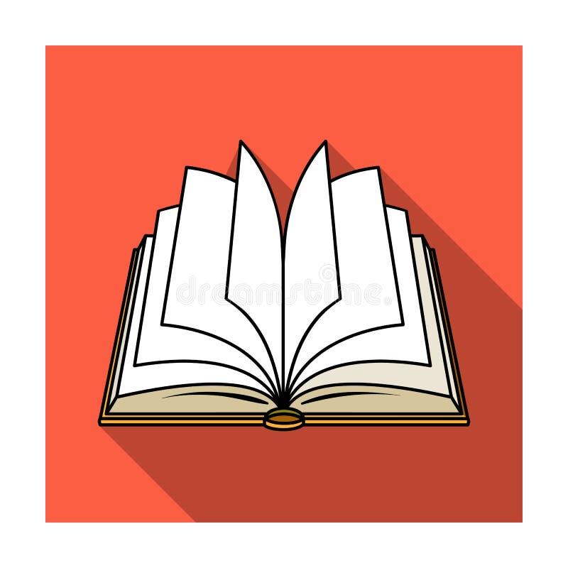Ícone aberto do livro no estilo liso isolado no fundo branco Registra a ilustração conservada em estoque do vetor do símbolo ilustração stock