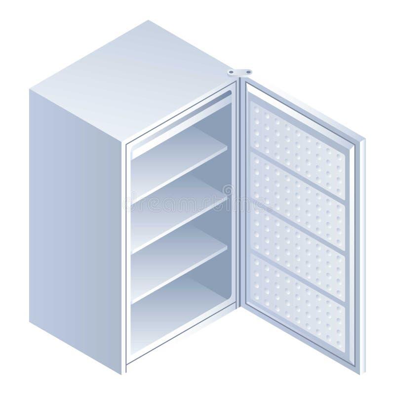 Ícone aberto do refrigerador, estilo isométrico ilustração stock