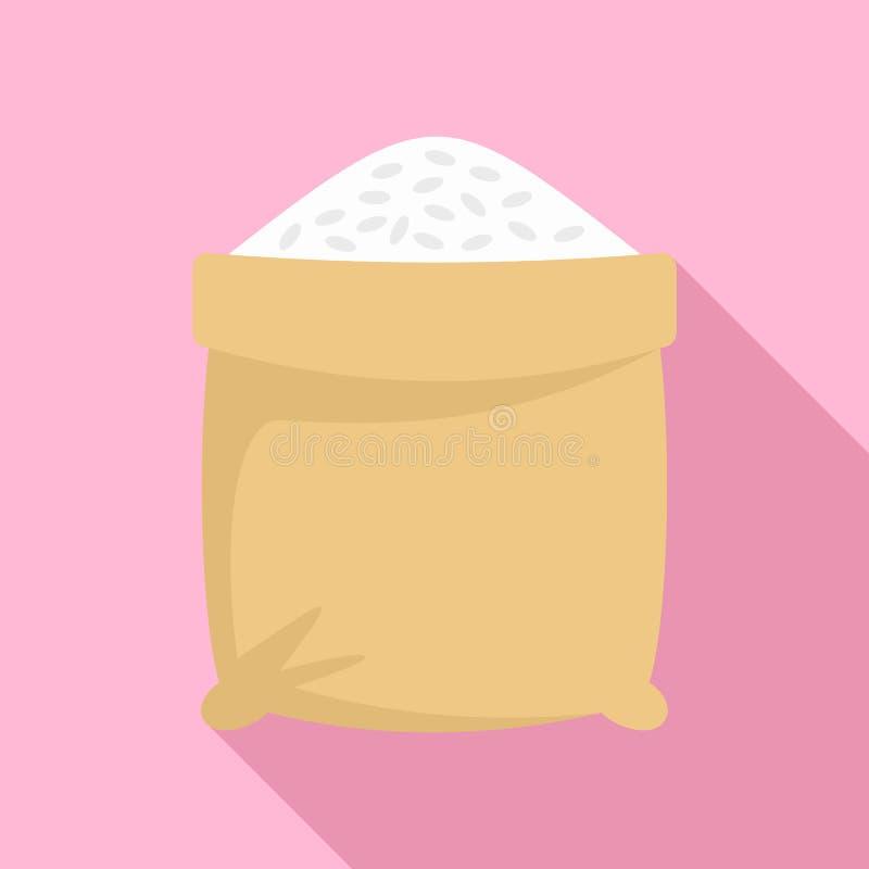 Ícone aberto do saco do arroz, estilo liso ilustração royalty free