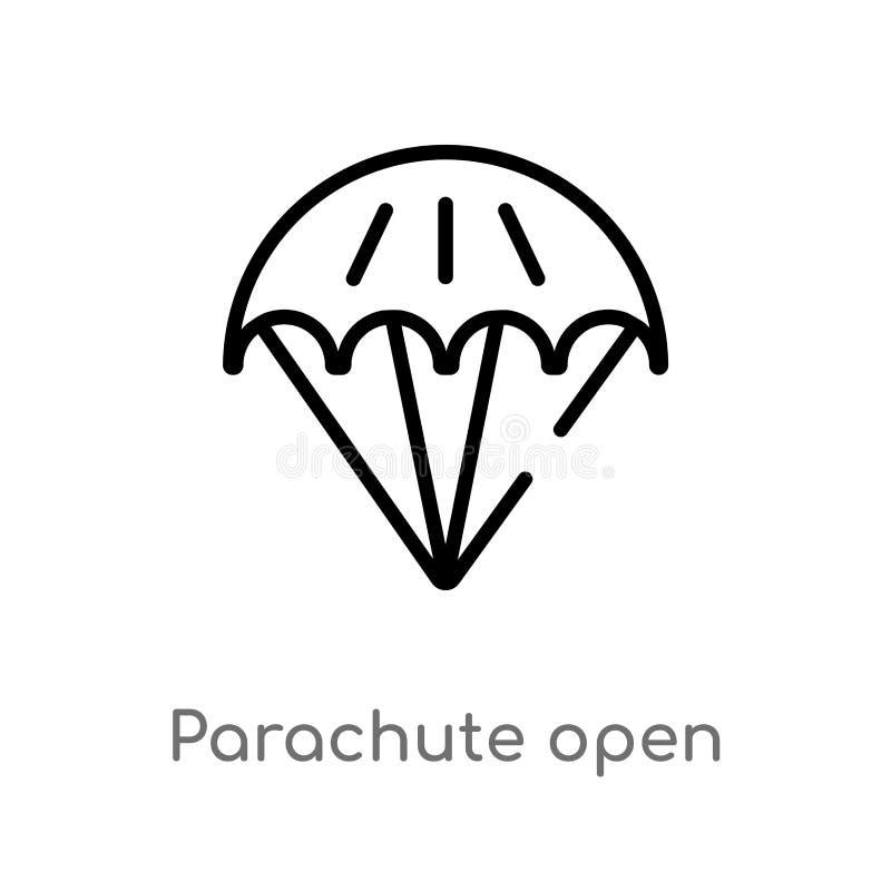 ícone aberto do vetor do paraquedas do esboço linha simples preta isolada ilustração do elemento do conceito do terminal de aerop ilustração stock